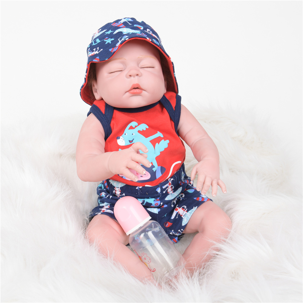 55cm Soft Full Silicone Reborn Baby Realistic Newborn Sleeping Princess Girl Doll for Kids Toy Xmas Birthday New Year Gift недорого