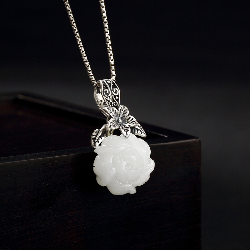 Silver Natural Hetian Jade White Jade Plum Flower Back To The Ancients High Grade Joker Lady Clavicle Pendant Wholesale