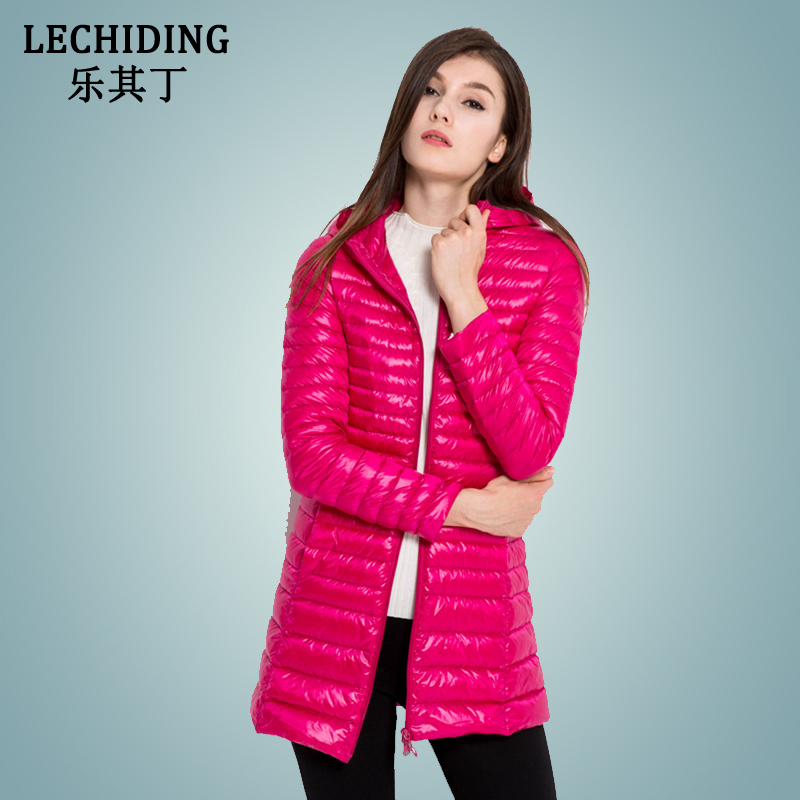 LECHIDING Winter Long Down Jacket Women Hoodies White Duck Down Coat S