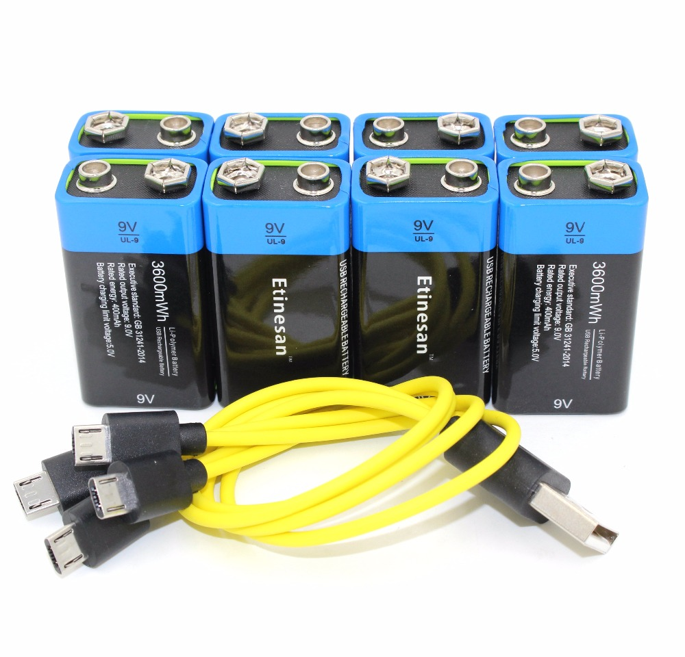 8pcs Etinesan 9V 3600mWh lithium li-po li-ion rechargeable battery for microphone,gps,camera,ect. + USB charging cable xh m603 li ion lithium battery charging control module battery charging control protection switch automatic on off 12 24v