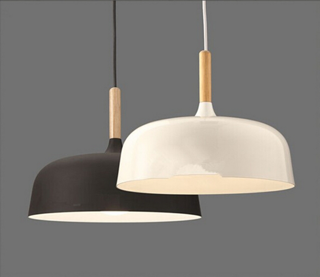 Modern Pendant Lights Wood Lamps Aluminum Lamp Shade Black White Bar Coffee Dining Room Led Light Fixture