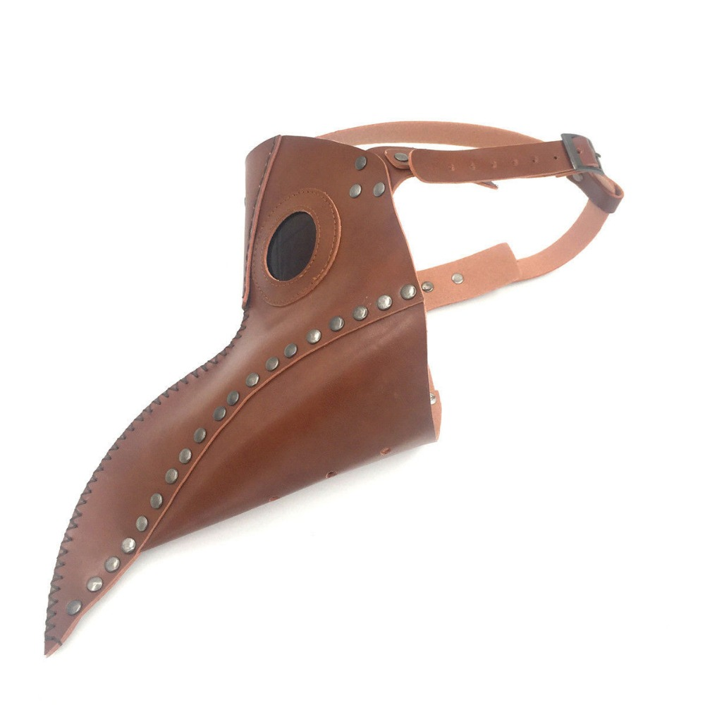 High qulity Brown retro vintage leather steampunk doctor plague bird beak halloween steam punk gohic breath crow corbie mask in Men 39 s Masks from Apparel Accessories