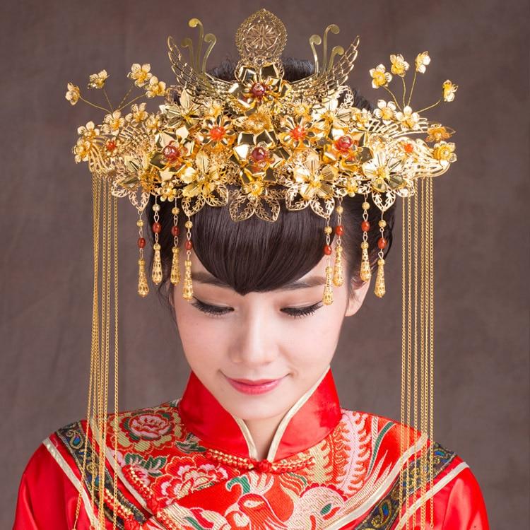 High - end classical bride headdress retro Chinese crown hair ornaments wedding jewelry headdress factory wholesale AQ2135