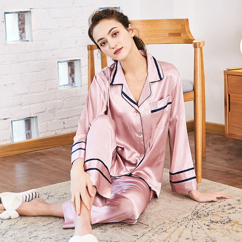 SSH0212 High Quality Silk   Pajamas   Nightwear Ladies Spring Autumn Two Pieces   Set   Pyjama Female Luxury Sleepwear Women   Pajamas     Set