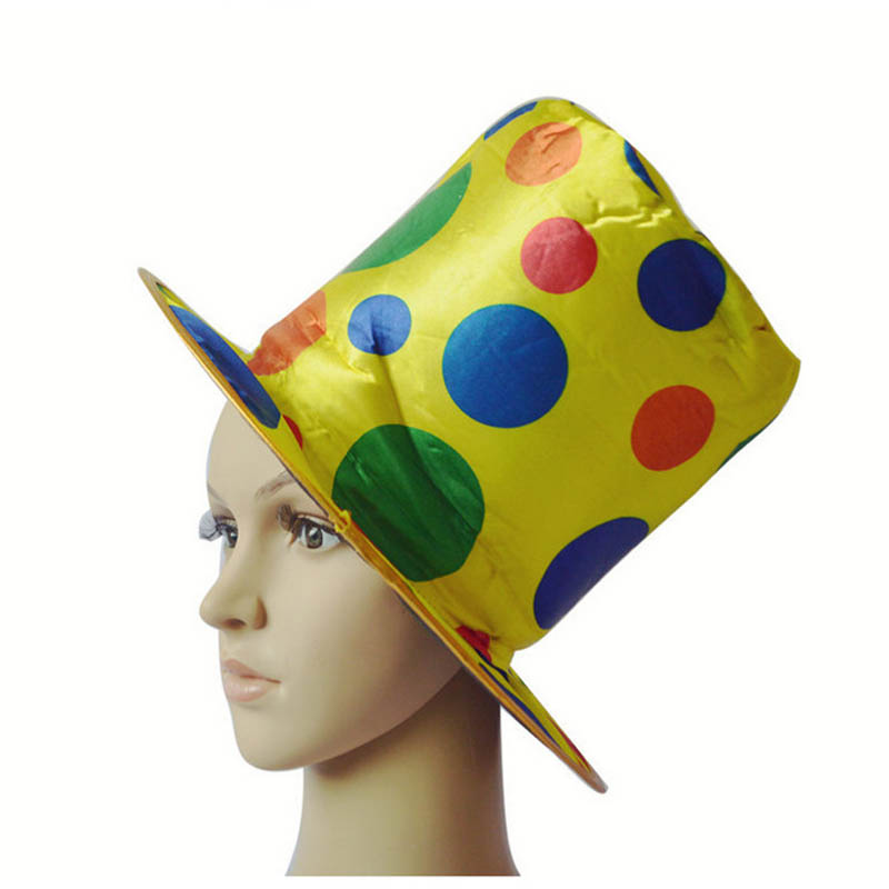 2018 Polka Dot Clown Top Hat Circus For Adults Carnival Up Hats Caps Halloween Party Cosplay Costume Accessories