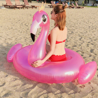 120CM Giant Inflatable Flamingo Pool Float Transparent Ride on Peacock Swimming Ring Adult Kids Water Holiday Party Toys Piscina