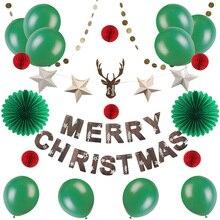 Green Christmas Decorations Paper Fans Honeycomb Balloon Deer Head  Stars Garland Merry Banner 21pcs /set Hot Sale