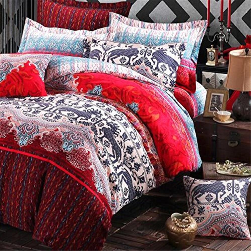 FADFAY Bohemian Duvet Cover Set Colorful Boho Bedding Sets Fitted Sheet Style Brushed Coton Home Vintage Bedspread Coverlet Sets