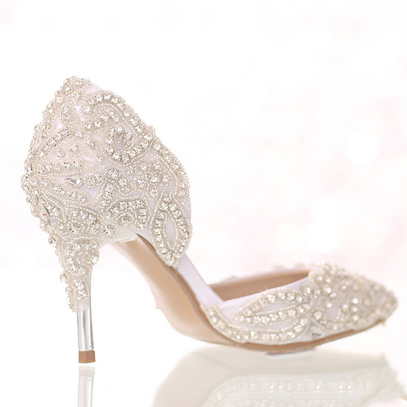 Heels Hauts Pointu Robe Blanc Cristal De Talons Magnifique Performance White Mince 9cm Chaussures À Mariée Talon Rhienstone Mariage Bout Pompes Parti SwXfwq0Rn