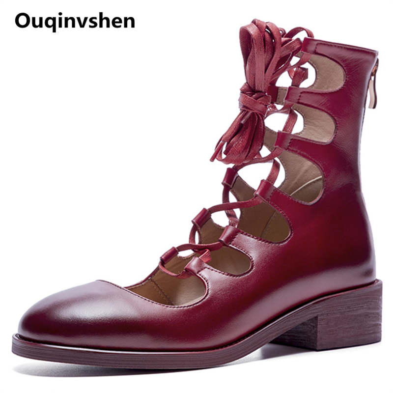все цены на Ouqinvshen Cross-tied Summer Boots Women Red Fashion Round Toe Square Heels Flats Shoes Women Genuine Leather Spring Ladies Shoe