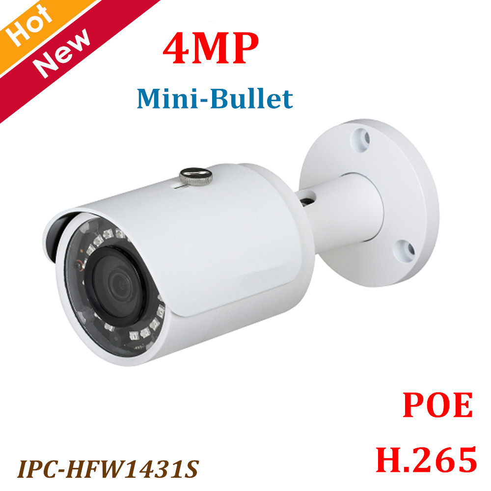 DH POE Ip camera IPC-HFW1431S 4MP WDR IR Mini Bullet Camera IR Distance 30m H.265 Waterproof IP67 Security camera цена
