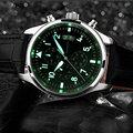 BINSSAW Nova marca top relógio de luxo homens de quartzo de couro à prova d' água luminosa s militar relógios de quartzo-relógio relogio masculino