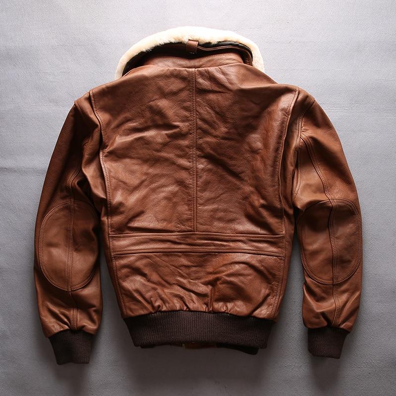 HTB1zUGOFDlYBeNjSszcq6zwhFXah AVIREX FLY 2018 Genuine Leather jacket Men Bomber Jacket Fur Collar Cowskin Short Air Force Flight Jacke Vintage Winter Coat