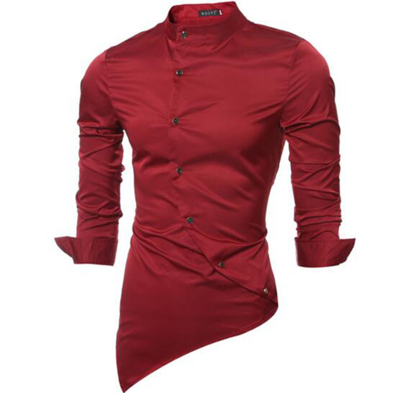2018 England Style Men Silk Tuxedo Shirts,Long Sleeve Stand Collar Irregular Casual Solid Color Shirts Slim Fit High Quality