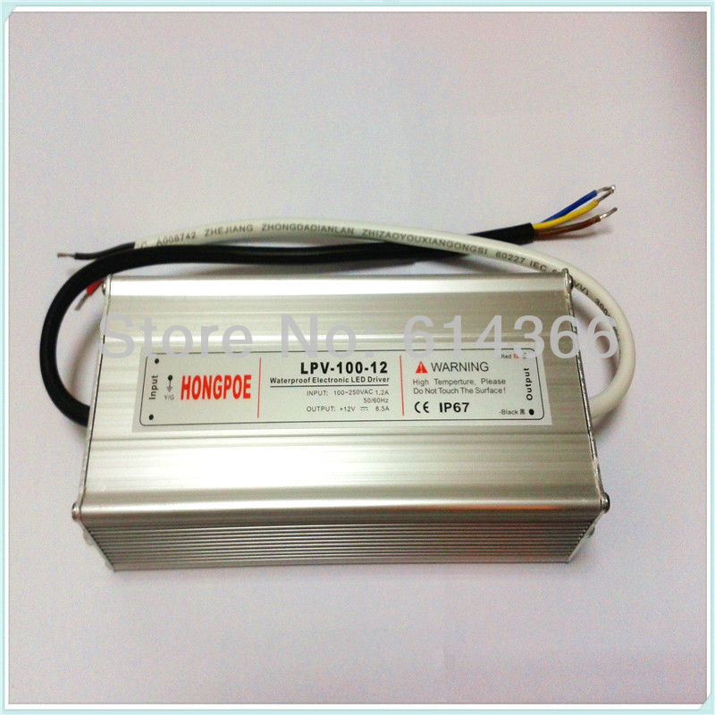 100W 12V power supply IP67  LED Driver AC-DC 12V 8.5A Transformer Power Supply  LPV-100-12 100-240VAC12V8.5A meanwell 12v 60w ul certificated lpv series ip67 waterproof power supply 90 264v ac to 12v dc