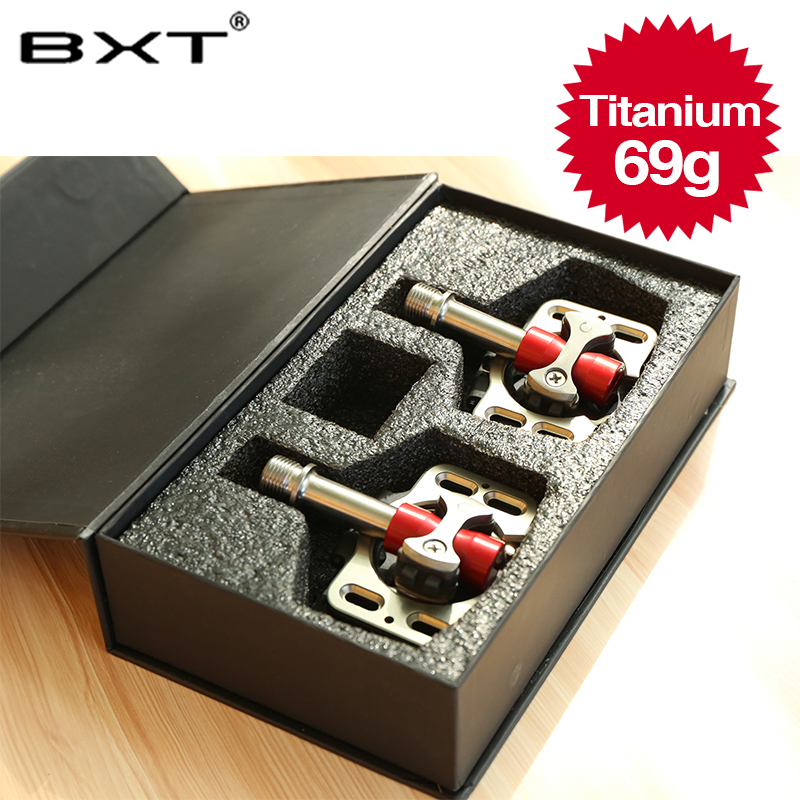 BXT alloy axis MTB/Road bike pedals light weight and durable cycling titanium bicycle pedals part axis superlight M69g weight aest 4 seald cartridge bearing cycling bicycle pedals cnc body titanium ti spindle axle mtb bmx platform flat 5 color bike parts