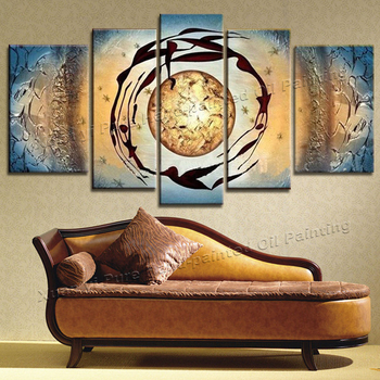 100% hand-painted 5 Piece Canvas Art  Abstract Painting canvas Oil On Canvas Painting Life Dance Paintings For Living Room Wall