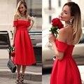Elegant Red Cocktail Dresses 2016 Off Shoulder Knee Length Coctail Dresses robe de Cocktail Party Dress vestidos de coctel