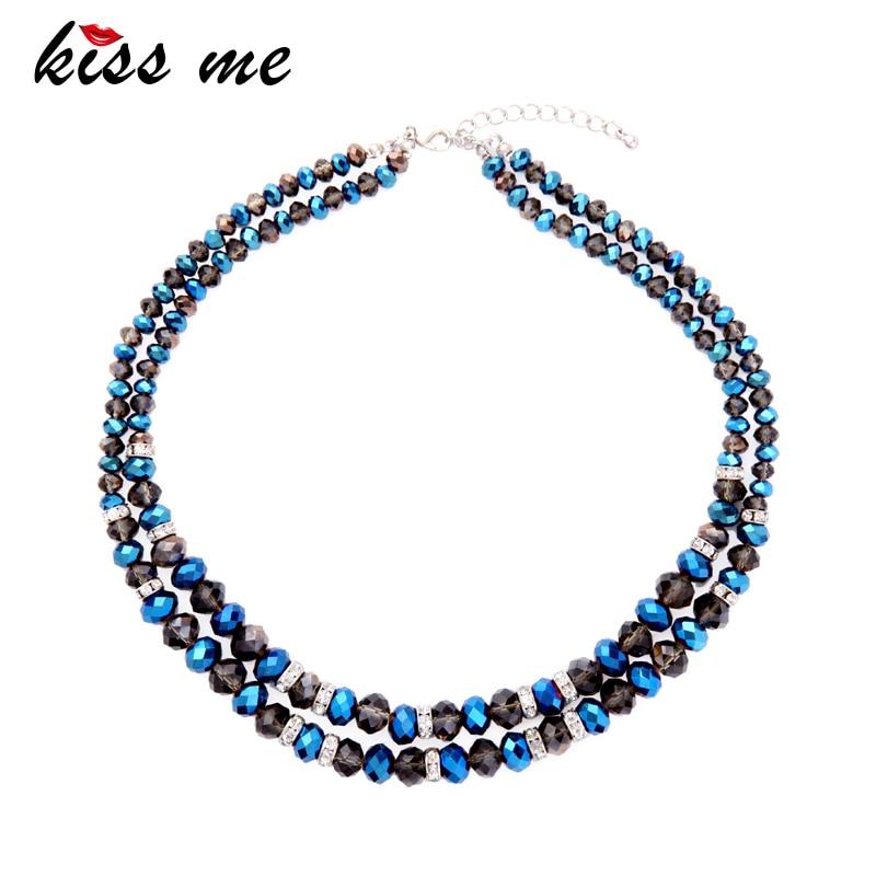 KISS ME Moda Popular Azul y Negro Collar de Cadena de Cuentas de Cristal Maxi 2017 Nuevo Gargantilla Collar Marca de Joyería