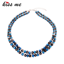 KISS ME Fashion Popular Blue & Black Glass Beads Chain Maxi Necklace 2017 New Choker Necklace Brand Jewelry