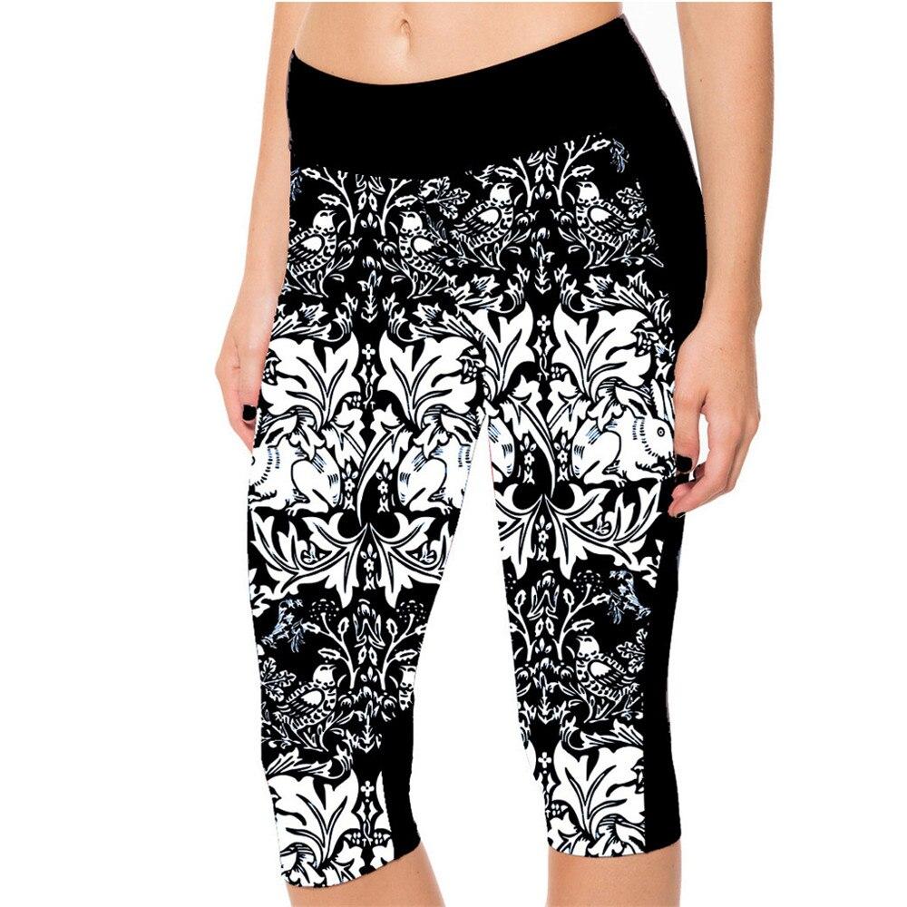 2015 Frauen 7 Punkt Hosen Mode Weiß Blumen Schwarz Vine Eleganz Digitaldruck Frauen Hohe Taille Seitentasche Telefon Hosen