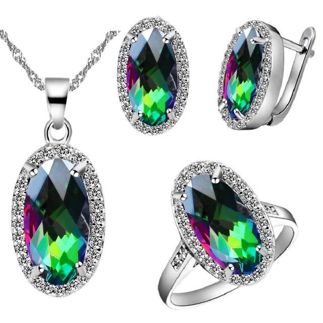 Almei Silver Color Women Jewelry Sets Wedding Necklace Pink Rhinestones Jewelry