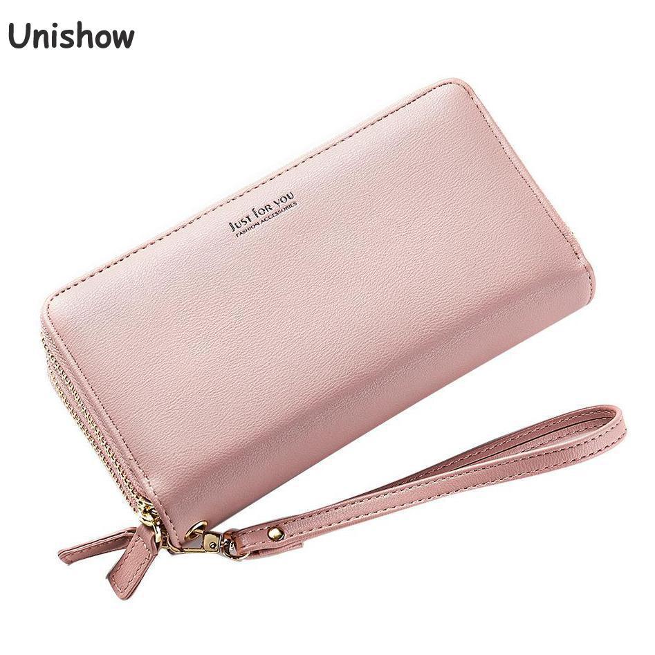 Unishow Double Zipper Wallet Women Large Capacity Purse Simple Wristband Ladies Wallet Female Phone Clutch Long Women Purse Bag