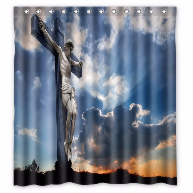 66 X72 Inch Christianity Jesus Shower Curtain Waterproof Fabric For Bathroom