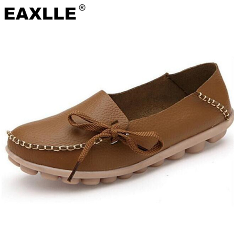 2017 Genuine Leather Plus Size Wear-resistant Anti-skid Sole Soft Women Casual Shoes Women's Loafers Moccasins Flat JJA-64