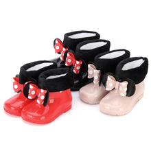 Mini Melissa Kids Rain Boots Mickey Minnie PVC Bow 3 Color Girls Shoes 2018 New Winter Boot Keep Warmer