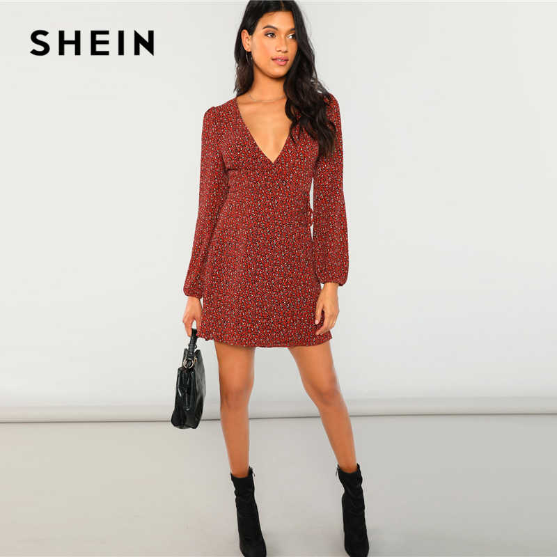 b8dd80d63a ... SHEIN Rust Leopard Print Plung Neck Wrap Dress Bohemian Beach Vacation  Flared Dress Women Autumn Short