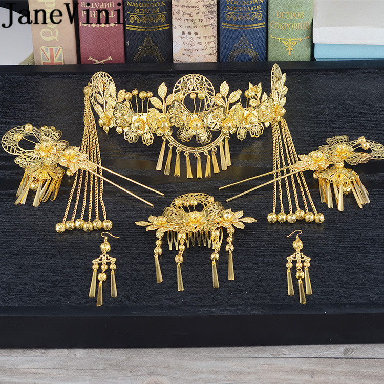 JaneVini Traditional Chinese Bride Headdress Headband Metal Long Tassel Hairpins Hairwear Forehead Hair Wedding Accessories Gold bride chinese vintage headdress beaded tassel protein hairpins comb crystal hair jewelry vintage wedding hair accessories