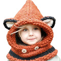 Fashion Wool Hat Cute animal Beanie Cashmere Shawl Siamese hat Neck Warm Winter Comfortable  soft Hat for Boy & Girl Baby M1601