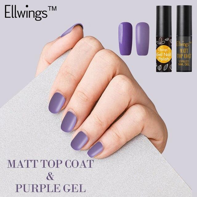 Ellwings 2 Stucke Matte Transparent Gel Nagellack Lila Schwarz Matt