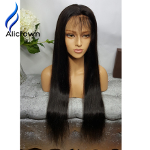 Alicrown Straight Full Lace Human Hair Wigs For Black Women  Lace Front Human Hair Wigs Glueless Full Lace Wigs With Baby Hair