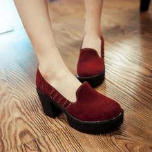 ปั๊มรองเท้าผู้หญิงกำมะหยี่ใหม่2016ส้นสูง7.5เซนติเมตรแพลตฟอร์ม3เซนติเมตรหนาส้นรองเท้าผู้หญิงกับรองเท้าส้นEURขนาด34-39