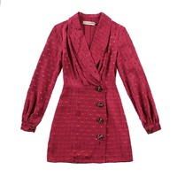 le palais vintage 201W Elegant Dot Polka Jacquard Satin Dress Lantern Sleeve Turn Down Collar Slim High Rise Matte Dress