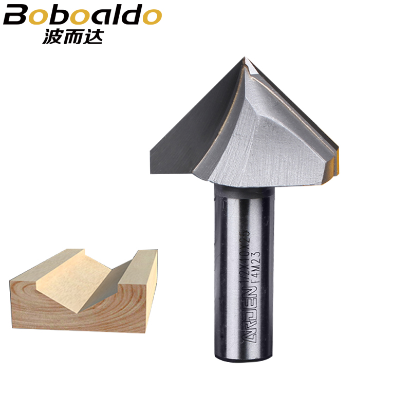 1pc V-Groove Engraving Cutter 1/4 1/2 Two Flutes 3D Arden Router Bits Wood 60 90 120 150 Deg Tungsten Woodworking Milling Cutter