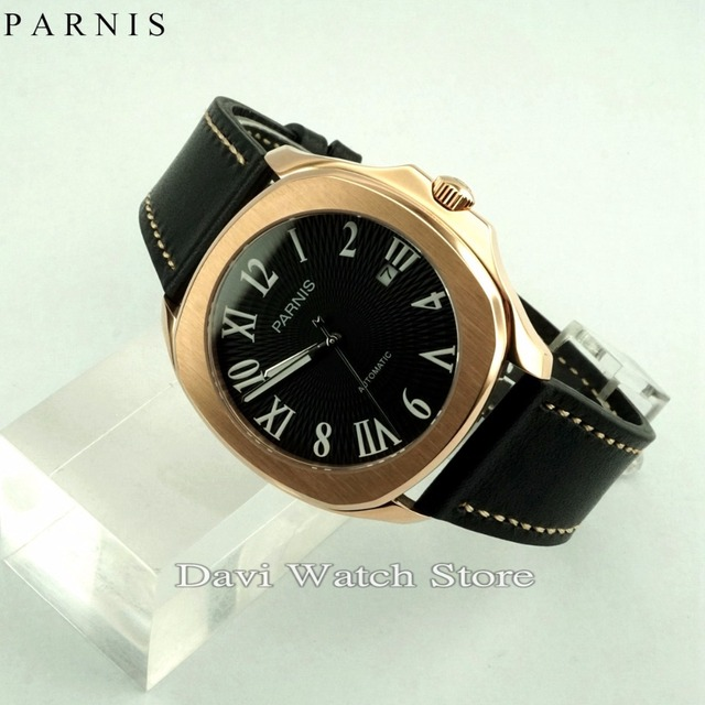 5f14bc380 40mm Fashion Parnis Rose Gold Case Black Dial Leather Bands Miyota Automatic  Movement Mens Watch