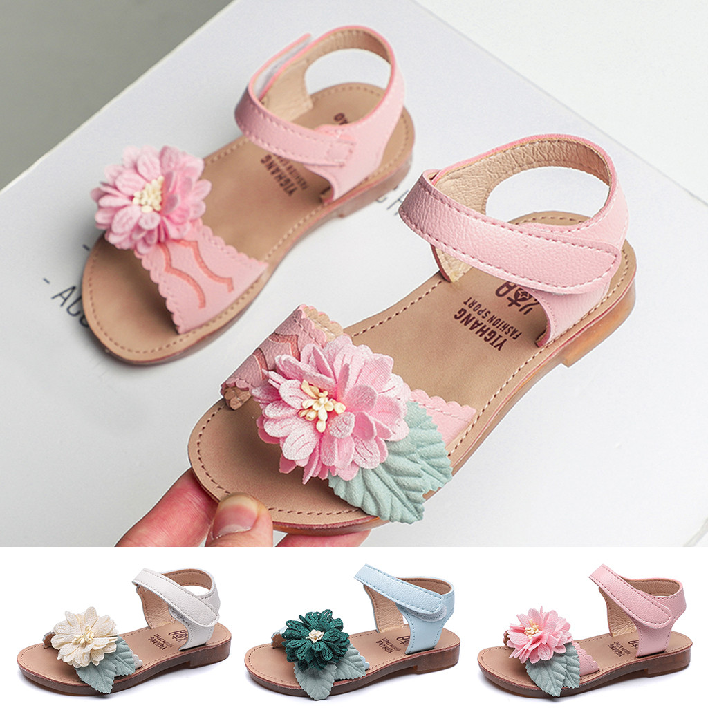 Summer Style Children Sandals Girls Princess Open-toed Beautiful Flower Shoes Kids Flat Sandals Baby Girls Roman Shoes