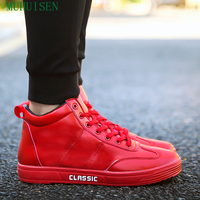 Muhuisen Men Casual Shoes European Classic Men Flat Shoes Fashion Male High Shoes Lace Up Men Casual Shoes