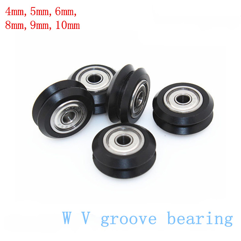 10pcs/Lot BW25 4mm-10mm W V groove bearing Openbuilds for 3D printer nylon wheel ball bearing with pulley track roller brand image