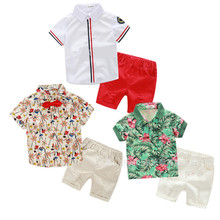 Kids printed flower t shirt+ shorts 2pcs set kids seaside vacation clothes children's outwear gentleman clothing suit 17A801