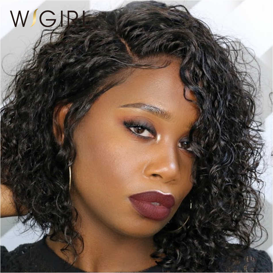 Wigirl волос натуральные волосы короткие вьющиеся парики для черный для женщин бразильские волосы синтетические волосы на кружеве натуральные волосы парики отбеленные узлы Бесплатная доставка