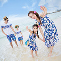 2017 summer mother daughter dresses beachwear vacation blue striped chiffon dress Dad Mom Kids family matching clothes