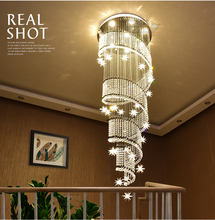 ZYY Modern Spiral K9 Crystal LED Ceiling Lights Large Staircase Indoor GU10LED Long Stair lamps Lighting Fixtures