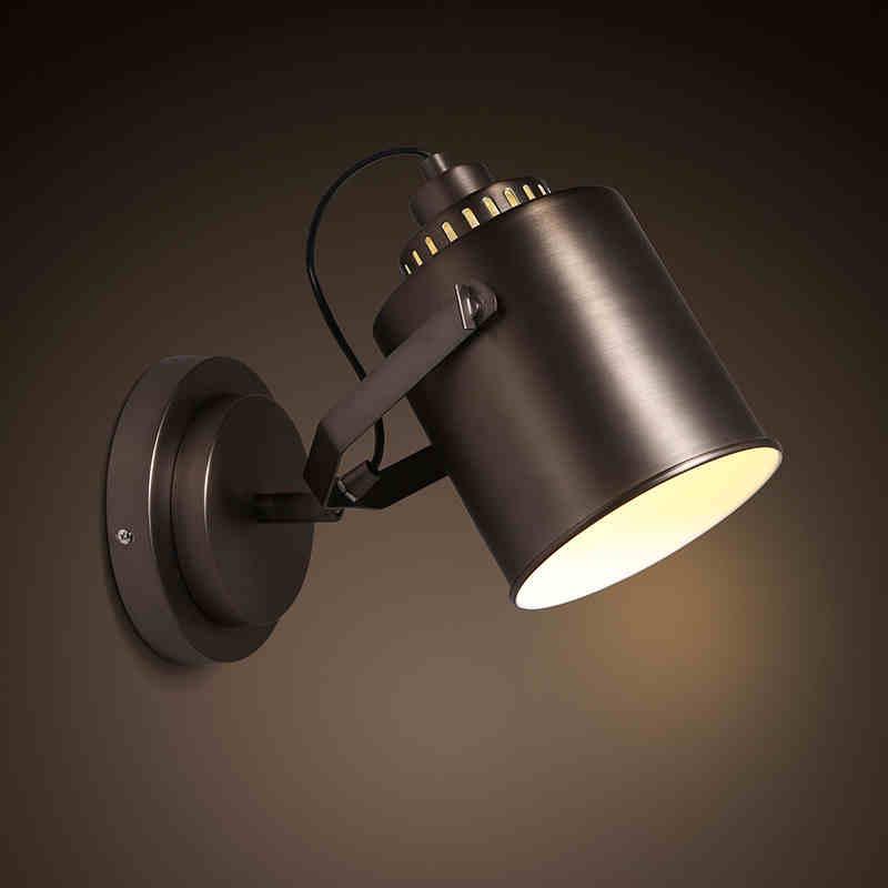 Loft industrial retro style iron wall lamp creative corridor bedroom bedside lamp shade iron wall lamp free shipping