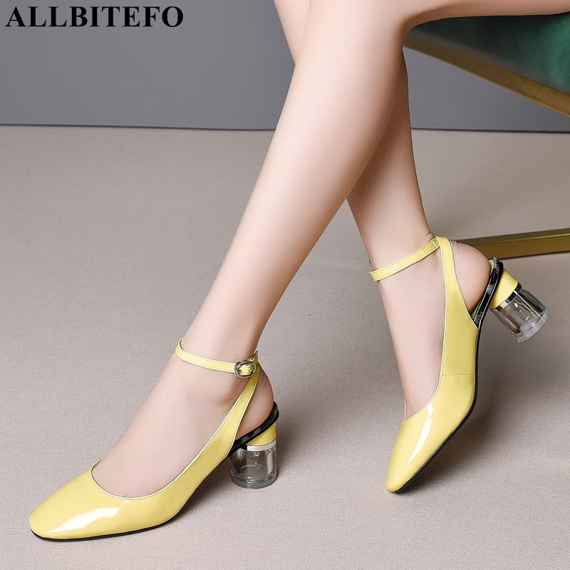 ALLBITEFO new summer genuine leather thick heel women sandals high quality women high heel shoes beach