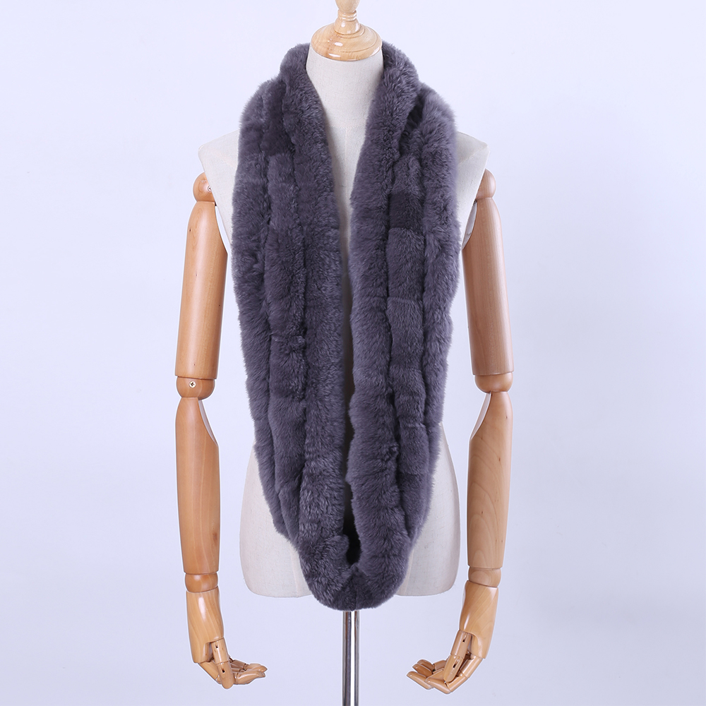 2018 New Winter Women's Genuine Real Rex Rabbit Fur   Scarf   Infinity Cowl Ring   Scarves   Fur   Wraps   Snood Street Fashion Nice Gift