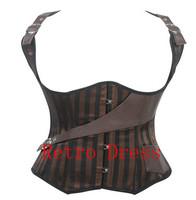 Inew Western Shoulder Strap Pirates Corset Bronze Satin Leather Corset Bustier Brown Steampunk Corsetlets Plus Size